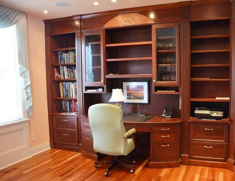 pareti libreria con scrittoio in legno