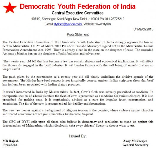 DYFI strongly opposes the ban on beef in Maharashtra. - Democratic Youth Federation of India (DYFI)