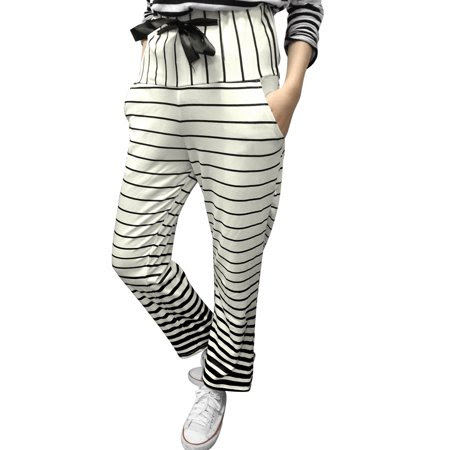 Women's Stripes Elastic Drawstring Waist Slant Pockets Casual Pants White (Size S \/ 4)