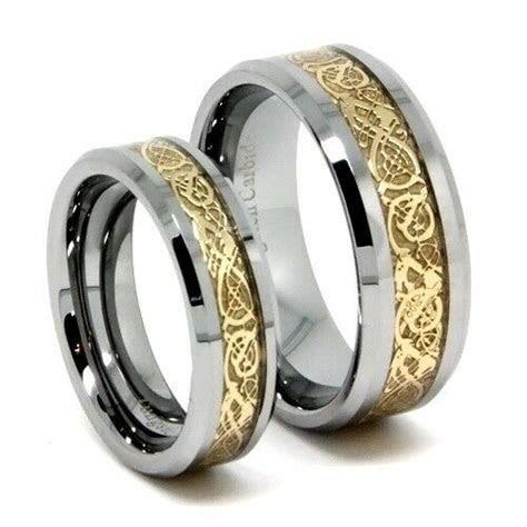 Matching Wedding Band, Gold Dragon Tungsten Ring Set, 8MM