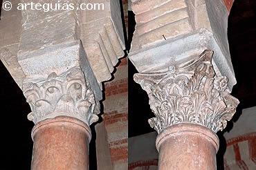 Capiteles romano y visigodo reaprovechados en el tramo de la Mezquita de Córdoba que impulsó Abderramán I