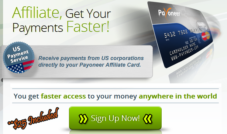 Signup for $25 Included Payoneer Card