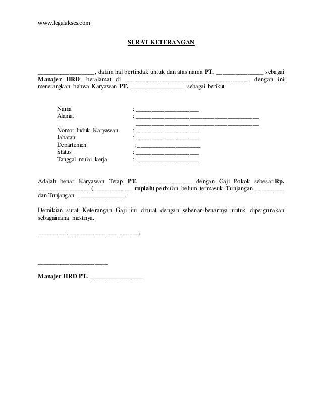 surat keterangan gaji karyawan
