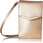 Time's Arrow Women's Amber Slim Crossbody Leather Handbag, Rose Gold