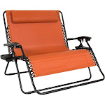 Best Choice Products 2-Person Double Wide Zero Gravity Chair with Cup Holders, Terracotta Orange