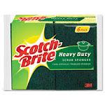 "Heavy-Duty Scrub Sponge, 4 1/2"" x 2 7/10"" x 3/5"", Green/Yellow, 6/Pack"