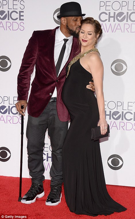 """Baby love: Pregnant dancer Allison Holker, dressed in Madison James, got a belly rub from Kate Hudson, and a kiss from husband Stephen """"tWitch"""" Boss"""
