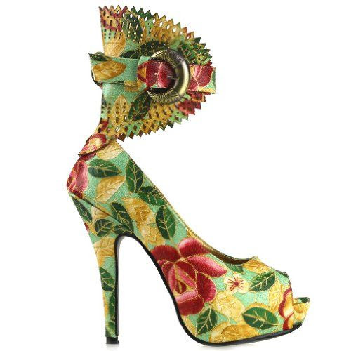 Show Story Multi Color Floral Peeptoe Gladiator Platform Stiletto Pumps,LF30402: Shoes