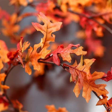 Artificial Autumn Oak Leaf Wired Garland   Garlands