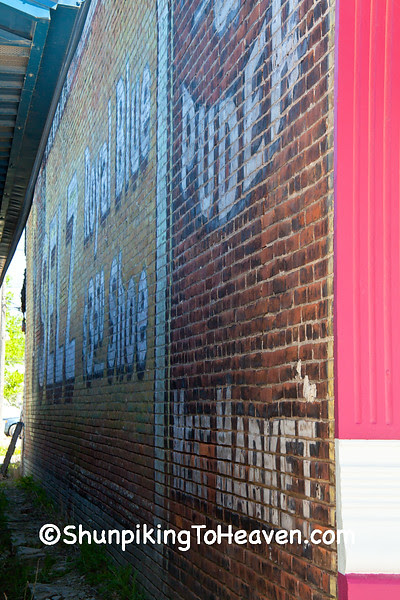 Uncovered Crear & Pruder Meat Market and Selz Shoe Mural, Kahoka Missouri