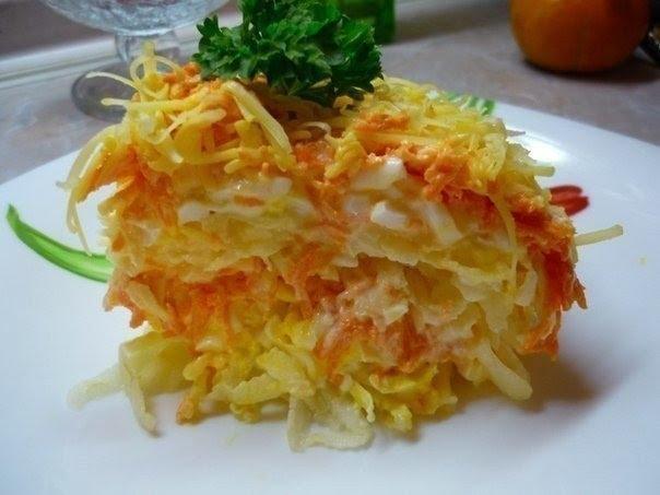 Фото к рецепту: Очень-очень простой, но бесподобно вкусный салат «Французский»