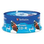 Verbatim Hub Inkjet Printable CD-R Discs, 700MB/80min, 52x, 25/Pack (VER96189)