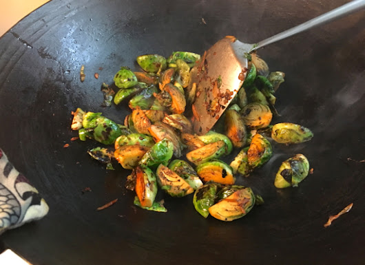 Wok Charred Brussel Sprouts from Chris Kimball's Milk Street Magazine | Wok Star Eleanor Hoh