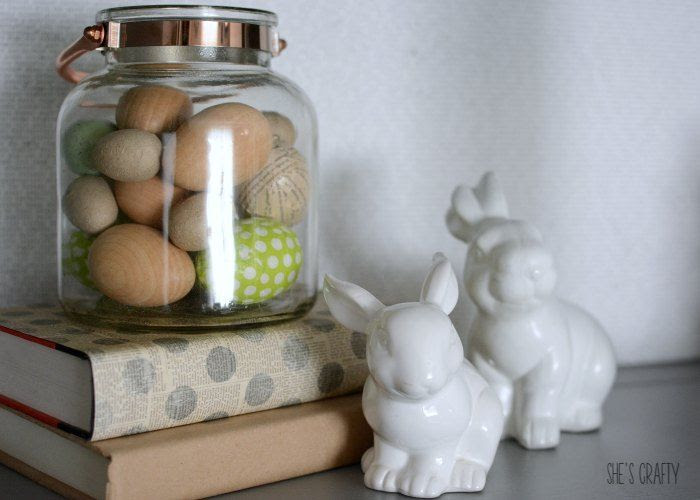 farmhouse spring decor, farmhouse home decor, wooden eggs, white bunnies