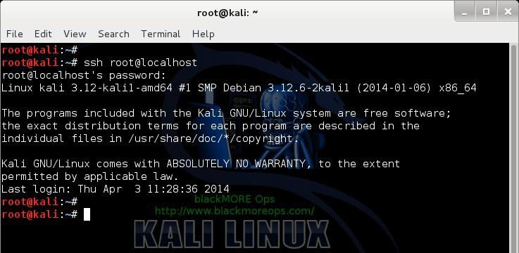 Kali Linux remote SSH - How to configure openSSH server - blackMORE Ops -5