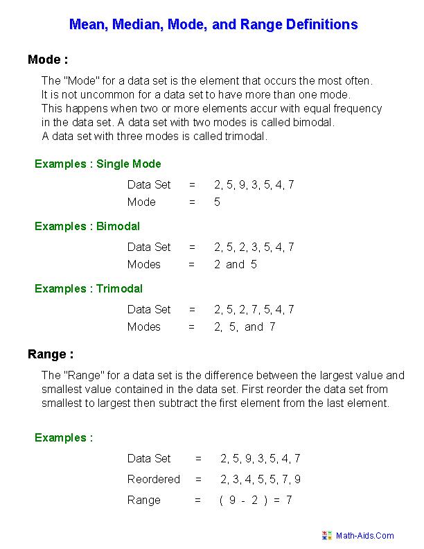 Mean Mode Median Worksheets Mean Mode Median And Range