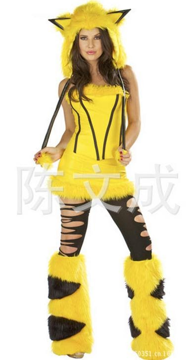TOP !!  Sexy Costumes Women Halloween Yellow Pikachu 4 Pieces Sets Role Play Lingerie For Women Strapless D