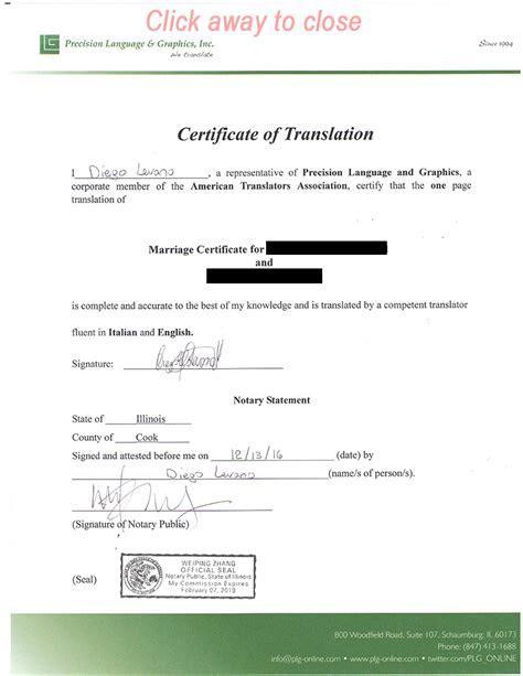 Wedding Certificate Translated Into English   printable