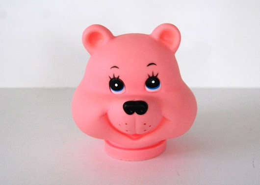 Vintage Rubber Bear Head, Darice Pink Bear Craft Head, Doll Parts