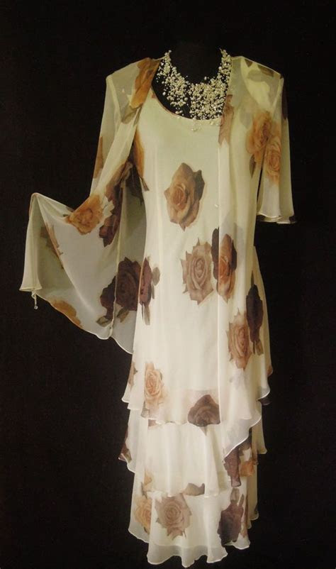 CATTIVA Cream Brown Wedding Outfit Size 14 16 Dress and