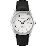 Timex Men's Easy Reader Silver-Tone Watch, Black Leather Strap