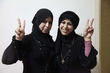 Activist Rodaina Eessa with her sister. Photo: Ruth Michaelson/RH Reality Check.