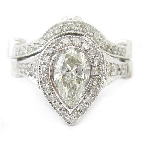 Pear Shape Legacy Ornate Style Diamond Engagement Ring