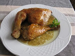 English: Roast chicken Español: Pollo al horno...