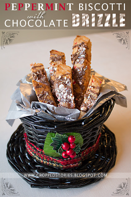Peppermint Biscotti with Chocolate Drizzle via Cropped Stories