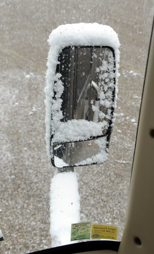 Snow on Rear-View Mirror by RV Bob
