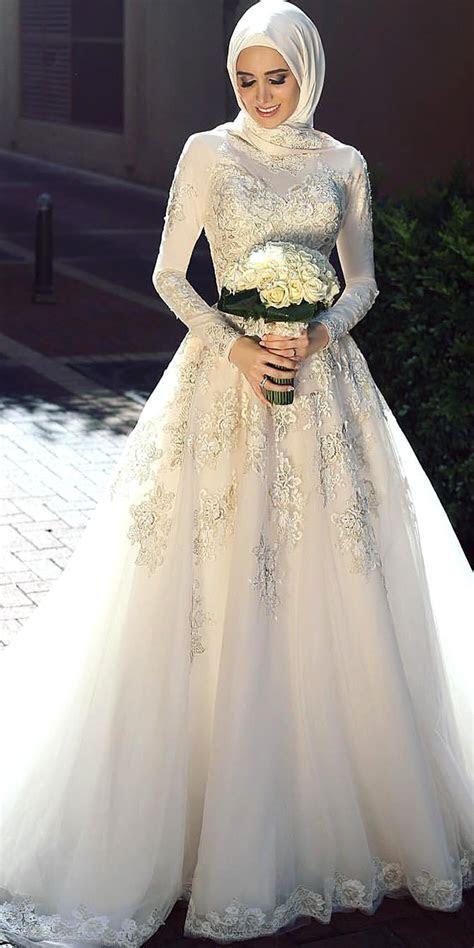 Muslim Wedding Dress with High Neck   Sexy Women's Bridal