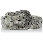 Blazin Roxx N3516636-XL 1.5 in. Womens Floral Concho & Crystal Metallic Silver Leather Belt Silver - Extra Large