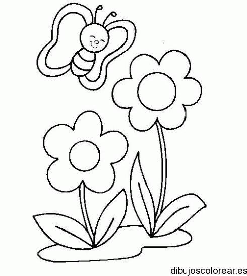 Dibujo De Una Mariposa Y Dos Flores