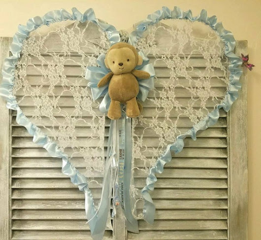 Baby Boy Angel Wings Door Hanging Wreath by PeggyJHaleDesigns