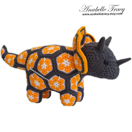 Triceratops Doll Stuffed Animals Baby Shower Gift by anabelletracy