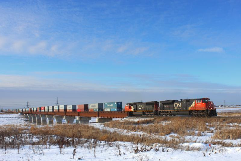CN 8906 crossing the Floodway