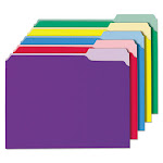 Interior File Folders, 1/3-Cut Tabs, Letter Size, Assorted, 100/Box 12306