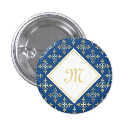 Luxury Monogram Blue and Gold Quatre Floral 1 Inch Round Button