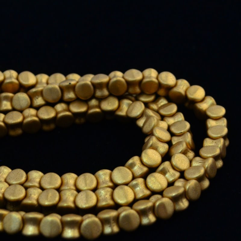 27800964-37 Glass -  Pellet Beads - Metallic Gold (Strand 44)