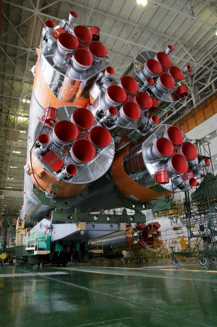 Russian Soyuz rocket being prepared for launch  at the Baikonur, Cosmodrone in Kazakhstan photo credit Bill Ingalls NASA posted on SpaceFlight Insider