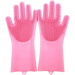 Follure New Magic Reusable Silicone Gloves Cleaning Brush Scrubber Gloves Heat Resistant Pink