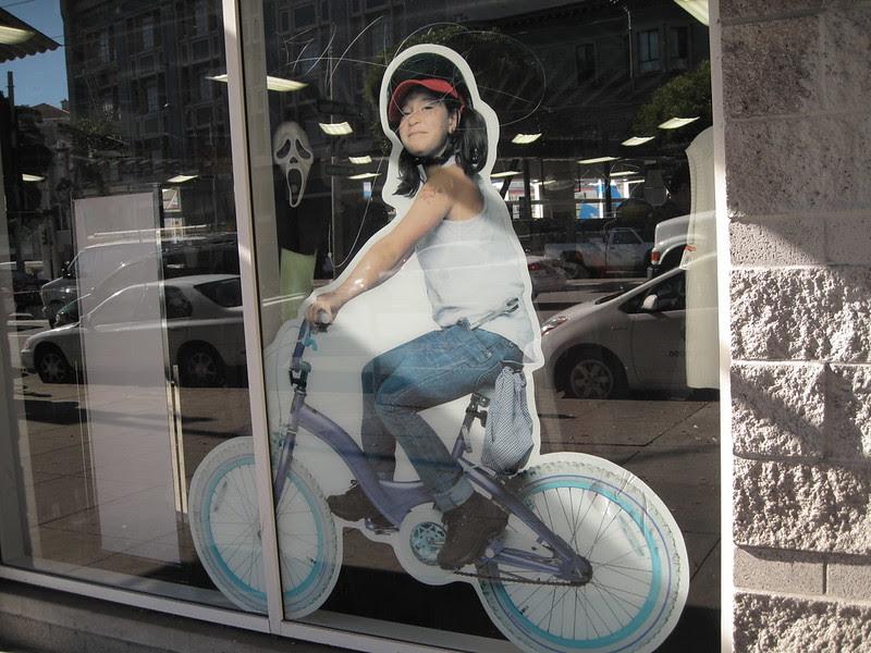 Goodwill's bike-oween windows