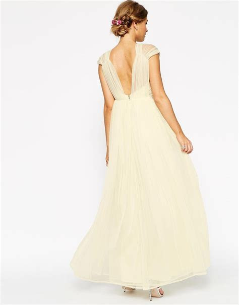 WEDDING Ruched Mesh Panel Maxi Dress   Prom/Homecoming