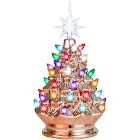 Best Choice Products 9.5in Pre-Lit Hand-Painted Ceramic Tabletop Christmas Tree w/ Lights, 3 Star Toppers - Rose Gold