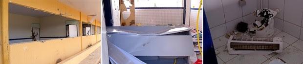 Escola foi completamente depredada pelos vândalos desde a quinta-feira (14) (Foto: Reprodução/ Inter TV Cabugi)