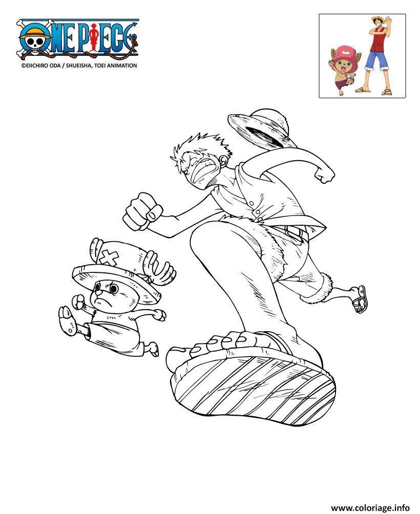 Coloriage epiece Luffy Et Chopper En Plein Course Dessin  Imprimer