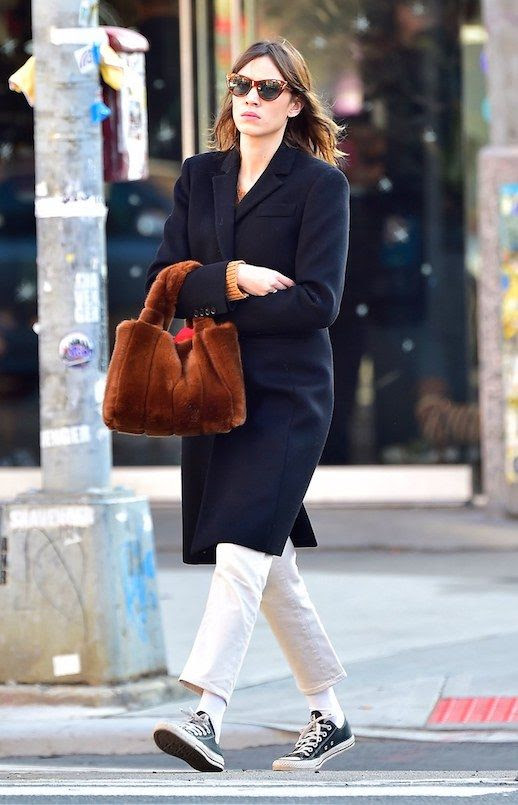 Le Fashion Blog Alexa Chung Cat Eye Sunglasses Navy Blue Coat White Jeans Faux Fur Bag Black Converse Via Vogue