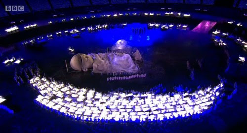 2012 London Olympic Ceremony: Does the baby's sectioned forehead represent the splitting of the personality due to abuse?