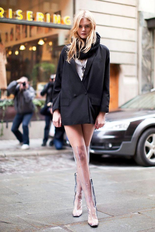Le Fashion Blog Josephin Model Style Blazer Dress Snood Scarf Thigh High Clear Transparent Rainboots Via Stockholm Streetstyle