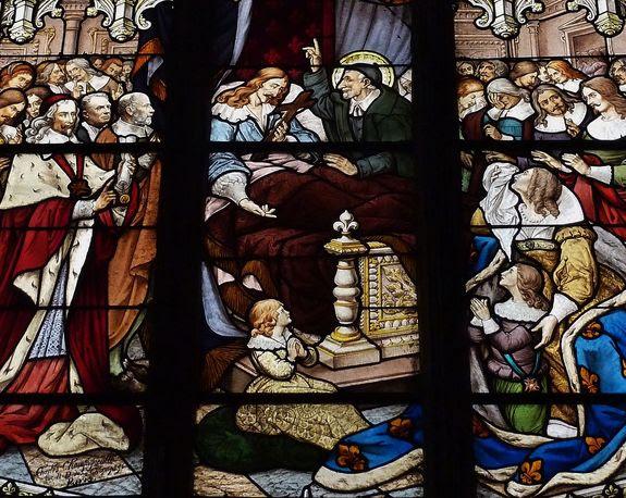 Saint Vincent de Paul assistant Louis XIII en son agonie - vitrail de l'église Saint-Séverin à Paris